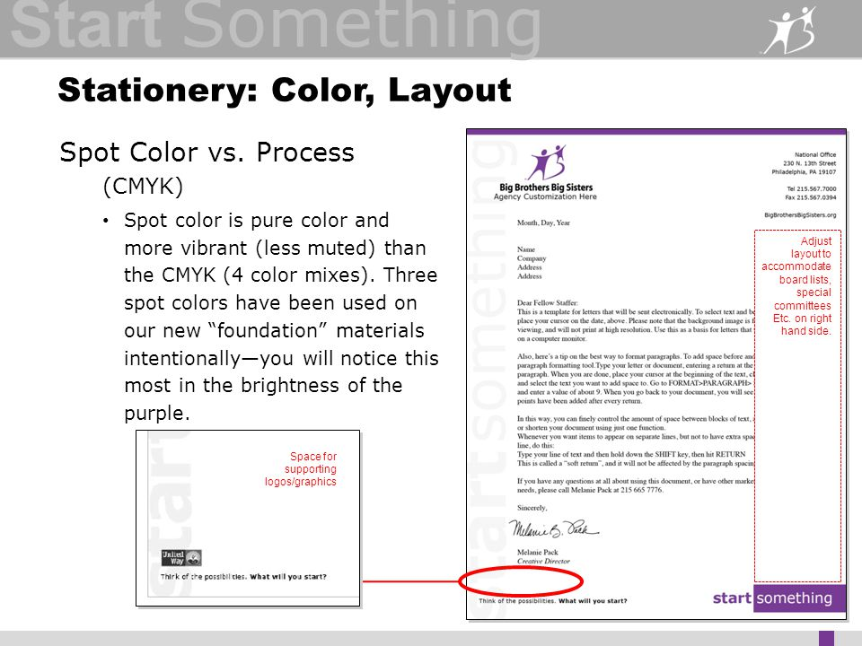 Start Something Stationery: Color, Layout Spot Color vs.