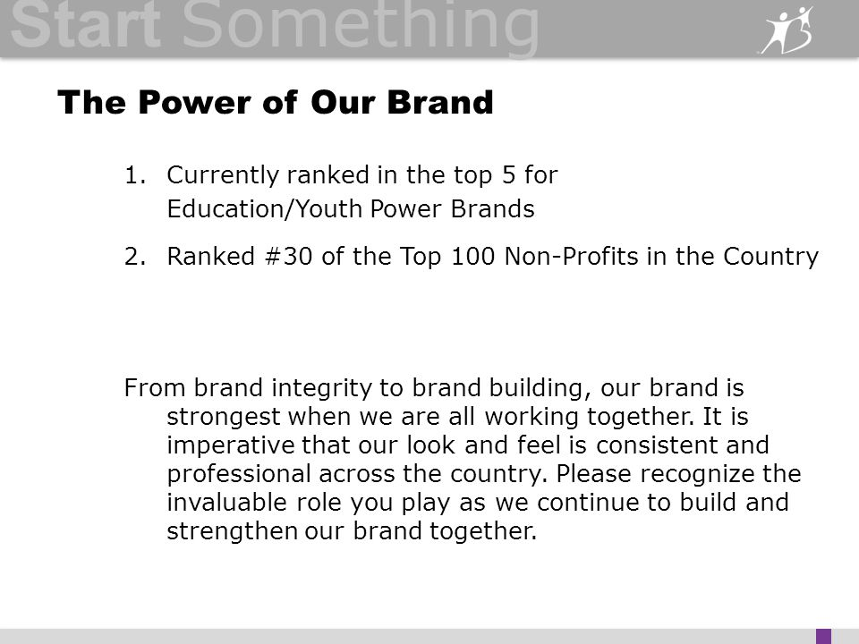 Start Something The Power of Our Brand 1.Currently ranked in the top 5 for Education/Youth Power Brands 2.Ranked #30 of the Top 100 Non-Profits in the Country From brand integrity to brand building, our brand is strongest when we are all working together.