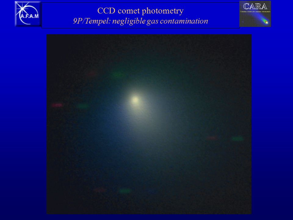 CCD comet photometry 9P/Tempel: negligible gas contamination