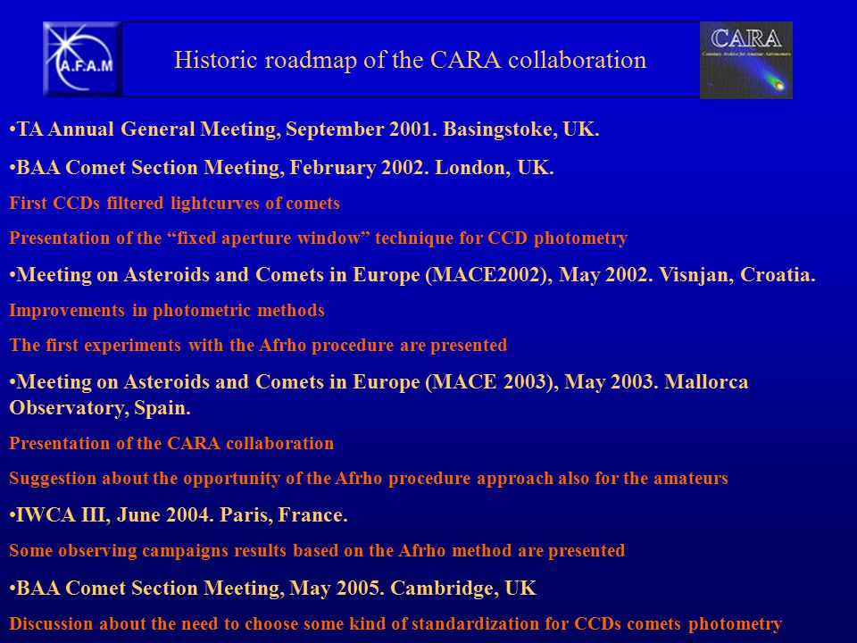 Historic roadmap of the CARA collaboration TA Annual General Meeting, September 2001.