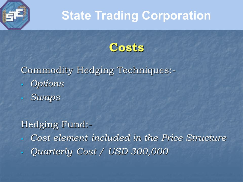 Commodity Hedging Techniques:- Options Options Swaps Swaps Hedging Fund:- Cost element included in the Price Structure Cost element included in the Price Structure Quarterly Cost / USD 300,000 Quarterly Cost / USD 300,000 Costs State Trading Corporation