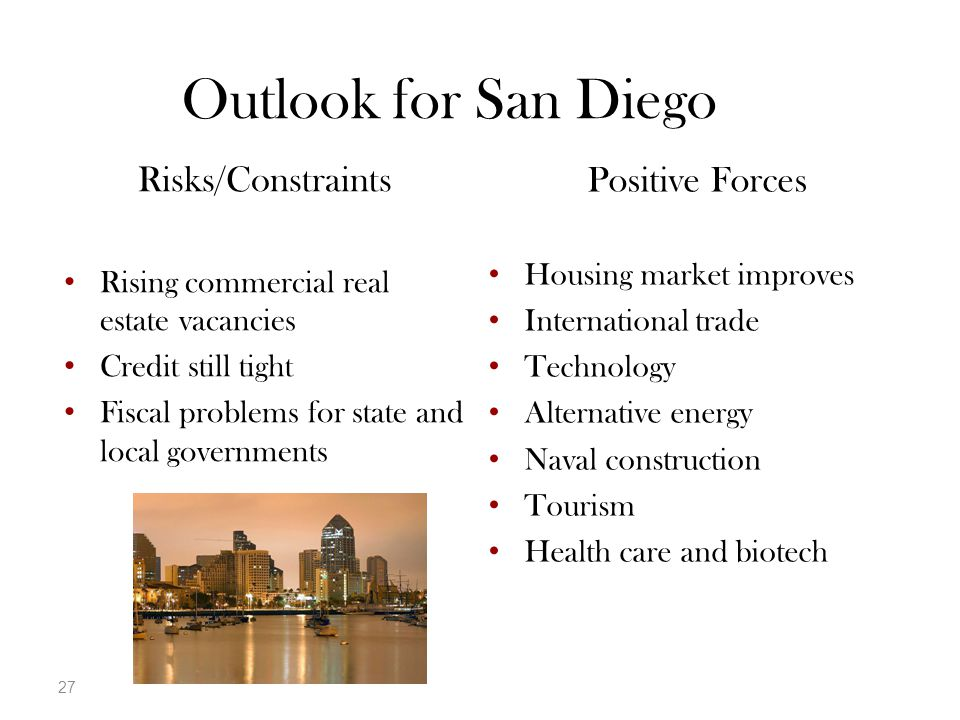 27 Positive Forces Housing market improves International trade Technology Alternative energy Naval construction Tourism Health care and biotech Risks/Constraints Rising commercial real estate vacancies Credit still tight Fiscal problems for state and local governments Outlook for San Diego