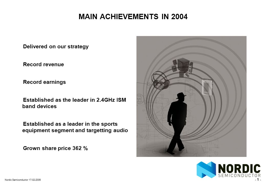- 12 - Nordic Semiconductor 17-02-2005 DELIVERED ON OUR STRATEGY (I) Summary of 2002 Strategic Plan Nordic, a semiconductor company Limit the portfolio of products Strengthen relationships with industry players Resources will be adjusted accordingly Only invest in core products IP, SoC, and Standard Simplify products and messages Acknowledge our position as a small player and act accordingly Strengthen our partner network Focus forwardActions
