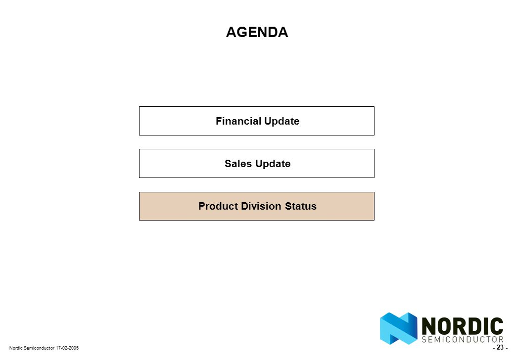 - 23 - Nordic Semiconductor 17-02-2005 AGENDA Financial Update Sales Update Product Division Status