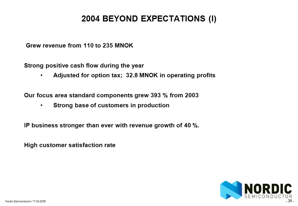- 31 - Nordic Semiconductor 17-02-2005 2004 BEYOND EXPECTATIONS (I) Grew revenue from 110 to 235 MNOK Strong positive cash flow during the year Adjusted for option tax; 32.8 MNOK in operating profits Our focus area standard components grew 393 % from 2003 Strong base of customers in production IP business stronger than ever with revenue growth of 40 %.