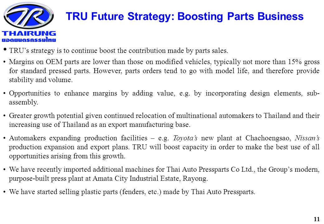 11 TRU Future Strategy: Boosting Parts Business TRU's strategy is to continue boost the contribution made by parts sales.