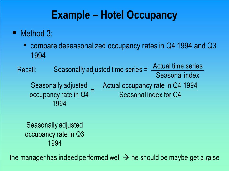 41 Example – Hotel Occupancy  Method 3: compare deseasonalized occupancy rates in Q4 1994 and Q3 1994 the manager has indeed performed well  he shou