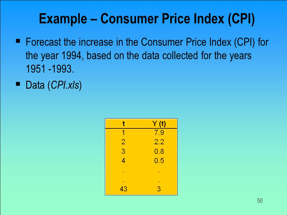 50 Example – Consumer Price Index (CPI)  Forecast the increase in the Consumer Price Index (CPI) for the year 1994, based on the data collected for t