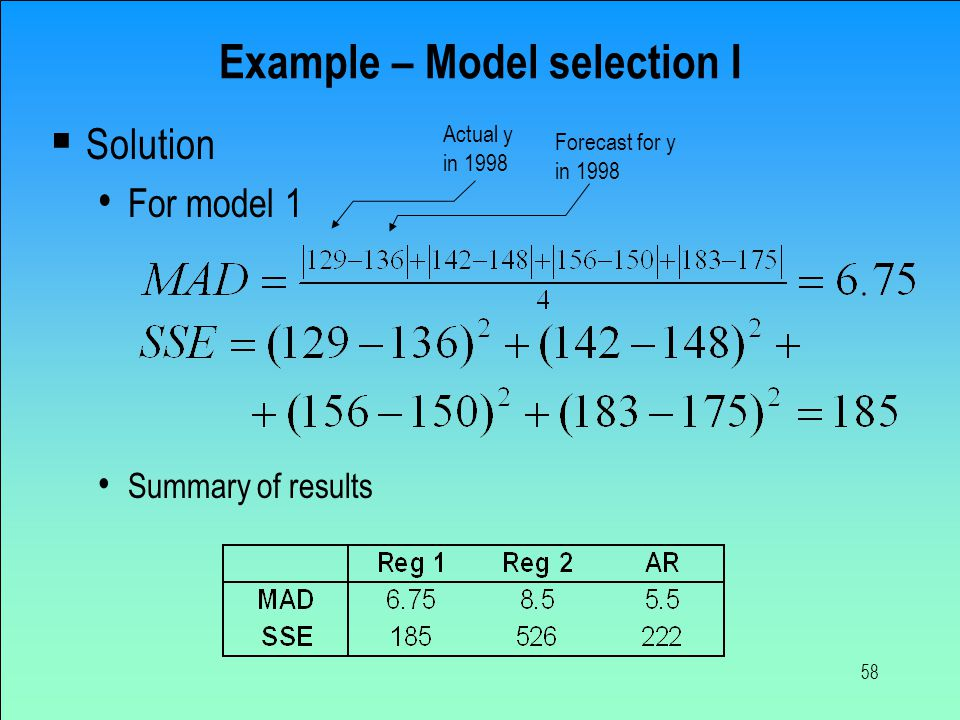 58 Example – Model selection I  Solution For model 1 Summary of results Actual y in 1998 Forecast for y in 1998