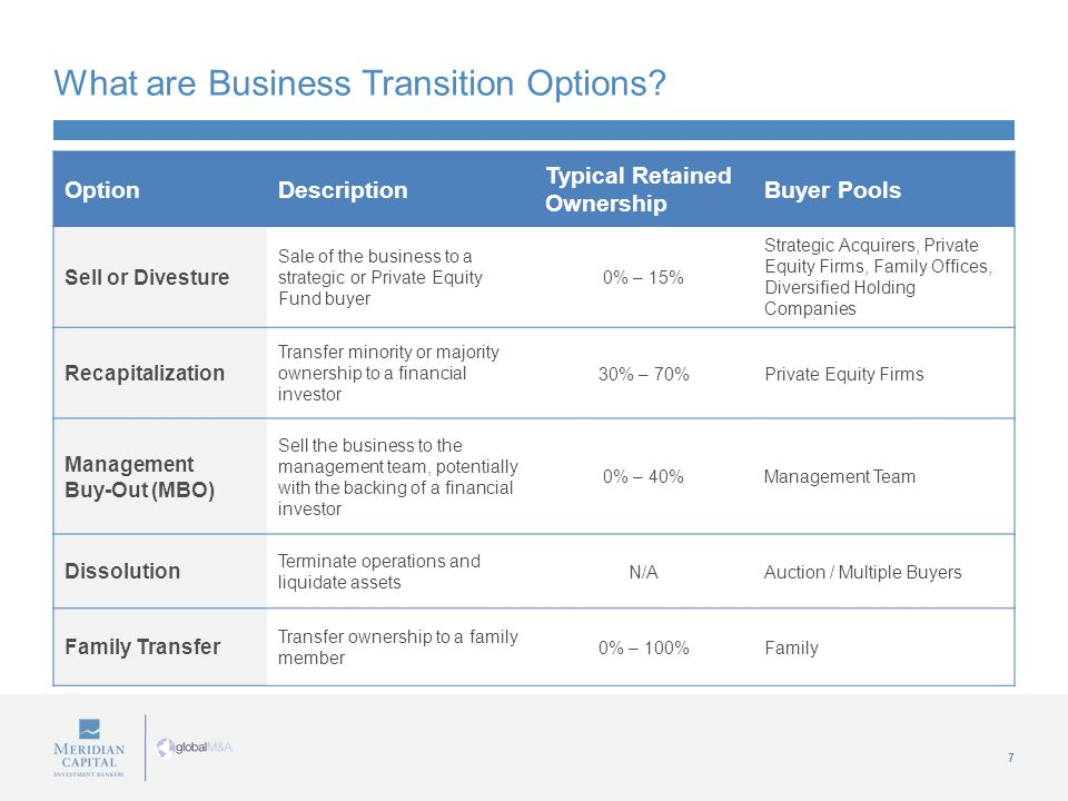 7 What are Business Transition Options.