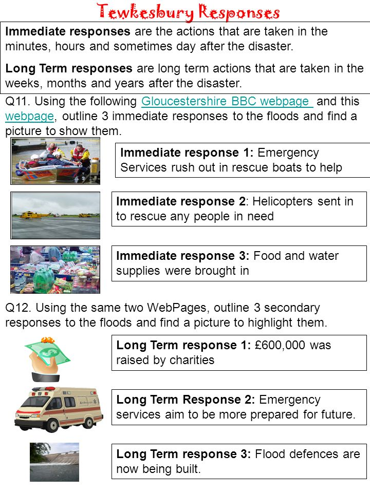 Immediate response 1: Emergency Services rush out in rescue boats to help Q11. Using the following Gloucestershire BBC webpage and this webpage, outli