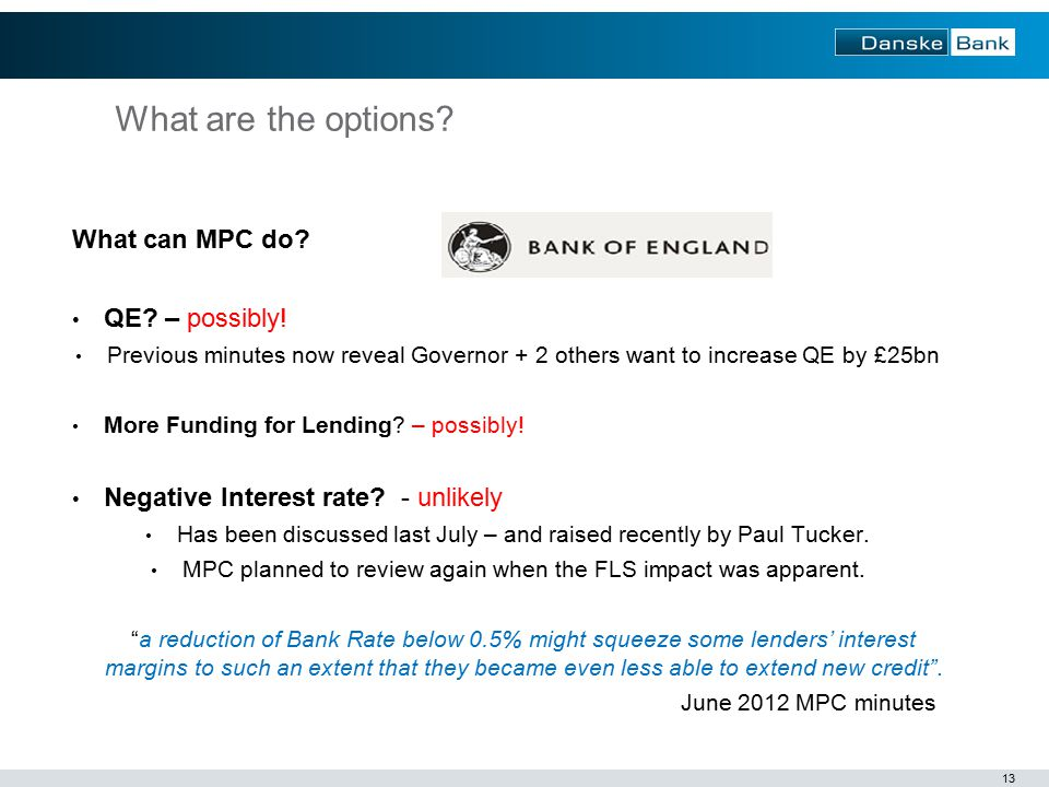 13 What are the options. What can MPC do. QE. – possibly.