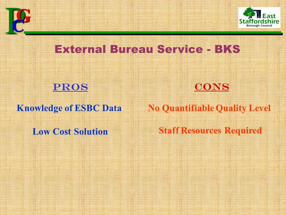 P G CPG C External Bureau Service - BKS pros cons Knowledge of ESBC Data Low Cost Solution No Quantifiable Quality Level Staff Resources Required