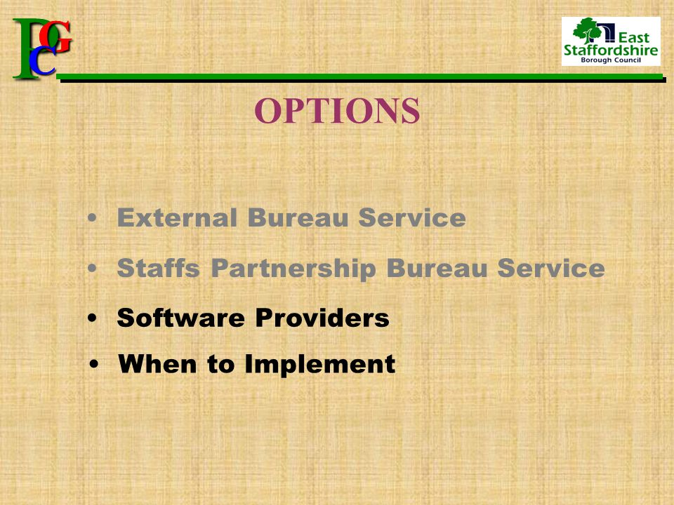 P G CPG C OPTIONS External Bureau Service Staffs Partnership Bureau Service Software Providers When to Implement