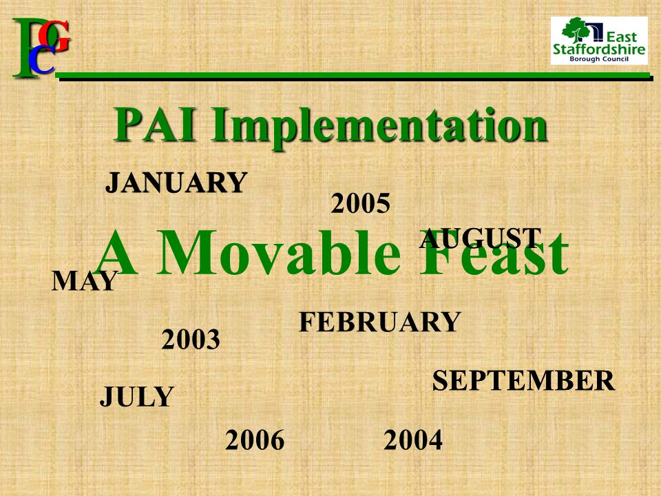P G CPG C PAI Implementation A Movable Feast JANUARY FEBRUARY JULY SEPTEMBER AUGUST MAY 2003 2004 2005 2006 JANUARY AUGUST SEPTEMBER