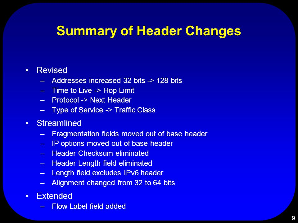 9 Summary of Header Changes Revised – Addresses increased 32 bits -> 128 bits – Time to Live -> Hop Limit – Protocol -> Next Header – Type of Service