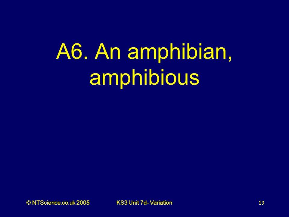 © NTScience.co.uk 2005KS3 Unit 7d- Variation13 A6. An amphibian, amphibious