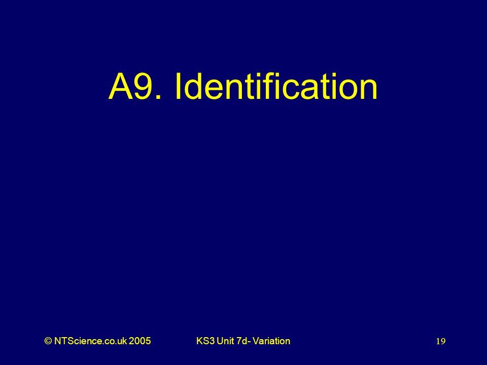 © NTScience.co.uk 2005KS3 Unit 7d- Variation19 A9. Identification