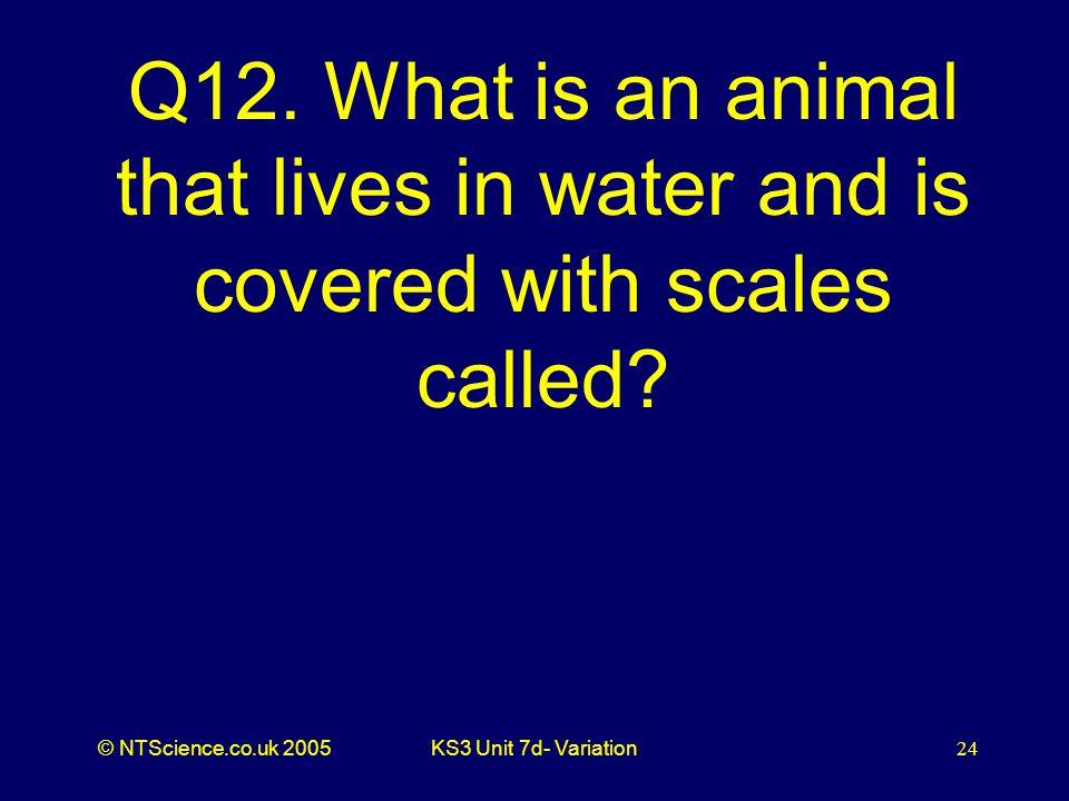 © NTScience.co.uk 2005KS3 Unit 7d- Variation24 Q12.