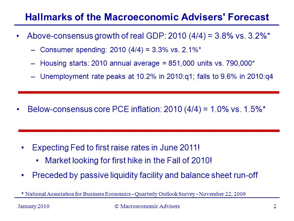 2 January 2010 Hallmarks of the Macroeconomic Advisers Forecast Above-consensus growth of real GDP: 2010 (4/4) = 3.8% vs.