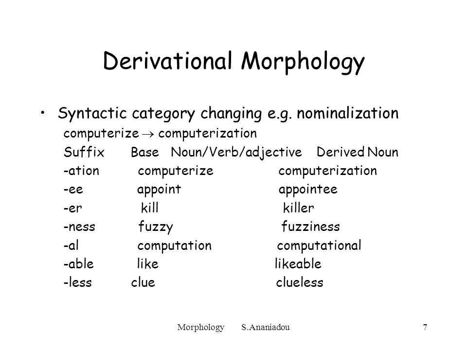 Morphology S.Ananiadou7 Derivational Morphology Syntactic category changing e.g.