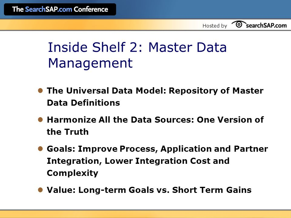 Hosted by Inside Shelf 2: Master Data Management The Universal Data Model: Repository of Master Data Definitions Harmonize All the Data Sources: One Version of the Truth Goals: Improve Process, Application and Partner Integration, Lower Integration Cost and Complexity Value: Long-term Goals vs.