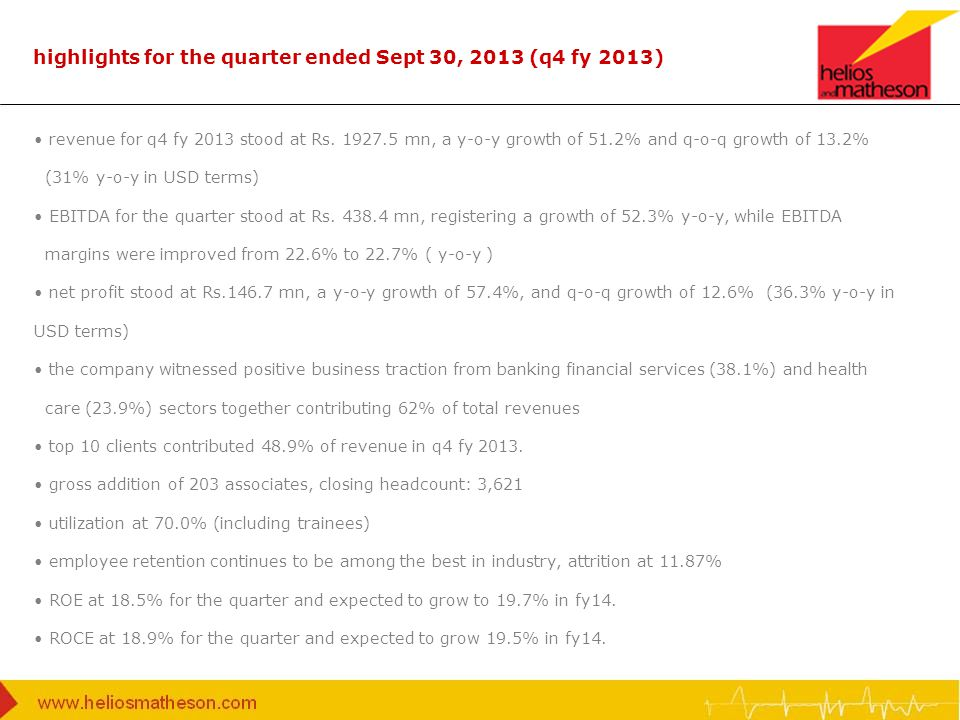 highlights for the quarter ended Sept 30, 2013 (q4 fy 2013) revenue for q4 fy 2013 stood at Rs. 1927.5 mn, a y-o-y growth of 51.2% and q-o-q growth of