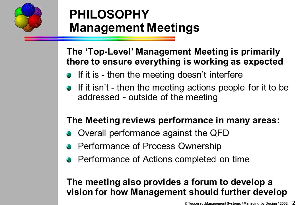 © Tesseract Management Systems / Managing by Design / 2002 - 1 MANAGEMENT MEETINGS This set of slides is intended to propose a structure for the manag