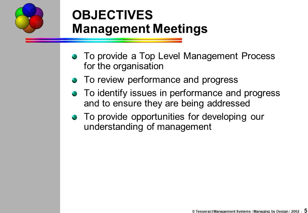 © Tesseract Management Systems / Managing by Design / 2002 - 4 The Top-Level Meeting Provide context for meeting - objectives, agenda, any new backgro