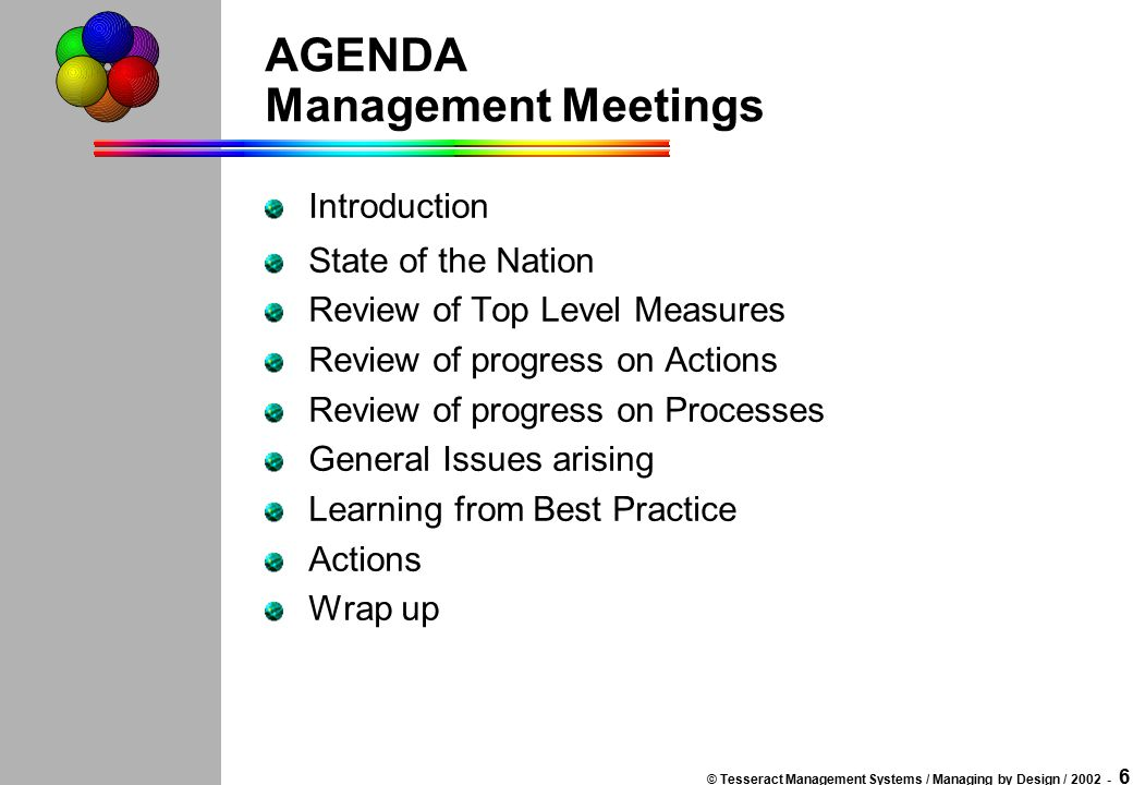 © Tesseract Management Systems / Managing by Design / 2002 - 5 OBJECTIVES Management Meetings To provide a Top Level Management Process for the organisation To review performance and progress To identify issues in performance and progress and to ensure they are being addressed To provide opportunities for developing our understanding of management