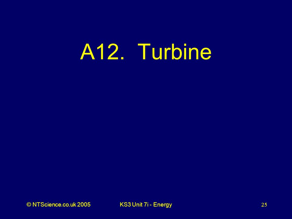 © NTScience.co.uk 2005KS3 Unit 7i - Energy25 A12. Turbine