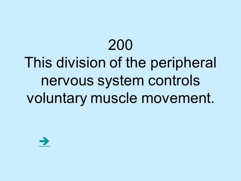 200 This division of the peripheral nervous system controls voluntary muscle movement. 