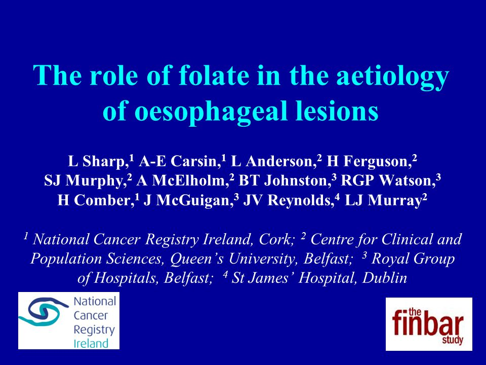 The role of folate in the aetiology of oesophageal lesions L Sharp, 1 A-E Carsin, 1 L Anderson, 2 H Ferguson, 2 SJ Murphy, 2 A McElholm, 2 BT Johnston, 3 RGP Watson, 3 H Comber, 1 J McGuigan, 3 JV Reynolds, 4 LJ Murray 2 1 National Cancer Registry Ireland, Cork; 2 Centre for Clinical and Population Sciences, Queen's University, Belfast; 3 Royal Group of Hospitals, Belfast; 4 St James' Hospital, Dublin