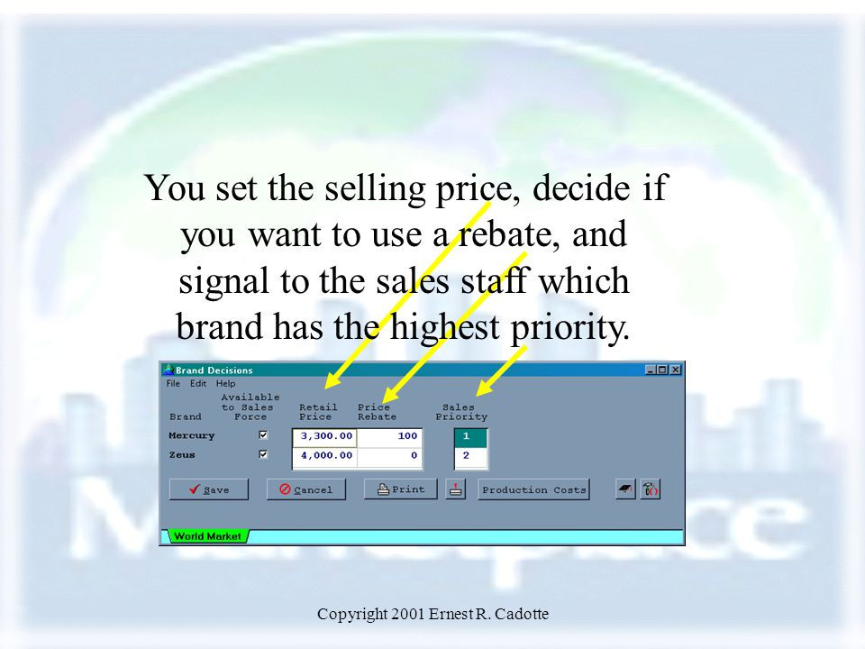 Copyright 2001 Ernest R. Cadotte You set the selling price, decide if you want to use a rebate, and signal to the sales staff which brand has the high