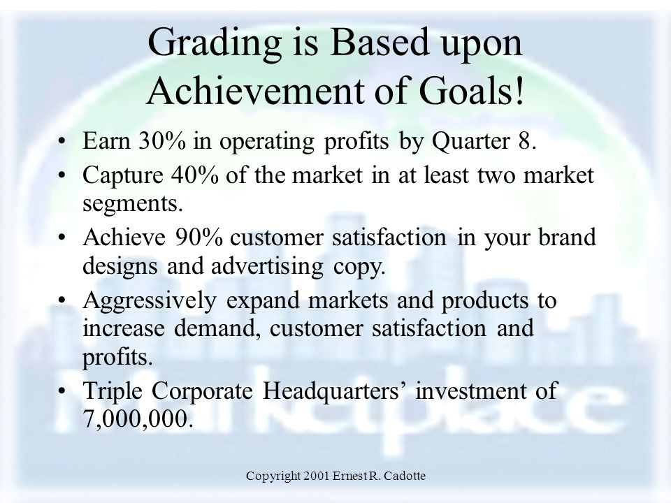 Copyright 2001 Ernest R. Cadotte Grading is Based upon Achievement of Goals! Earn 30% in operating profits by Quarter 8. Capture 40% of the market in