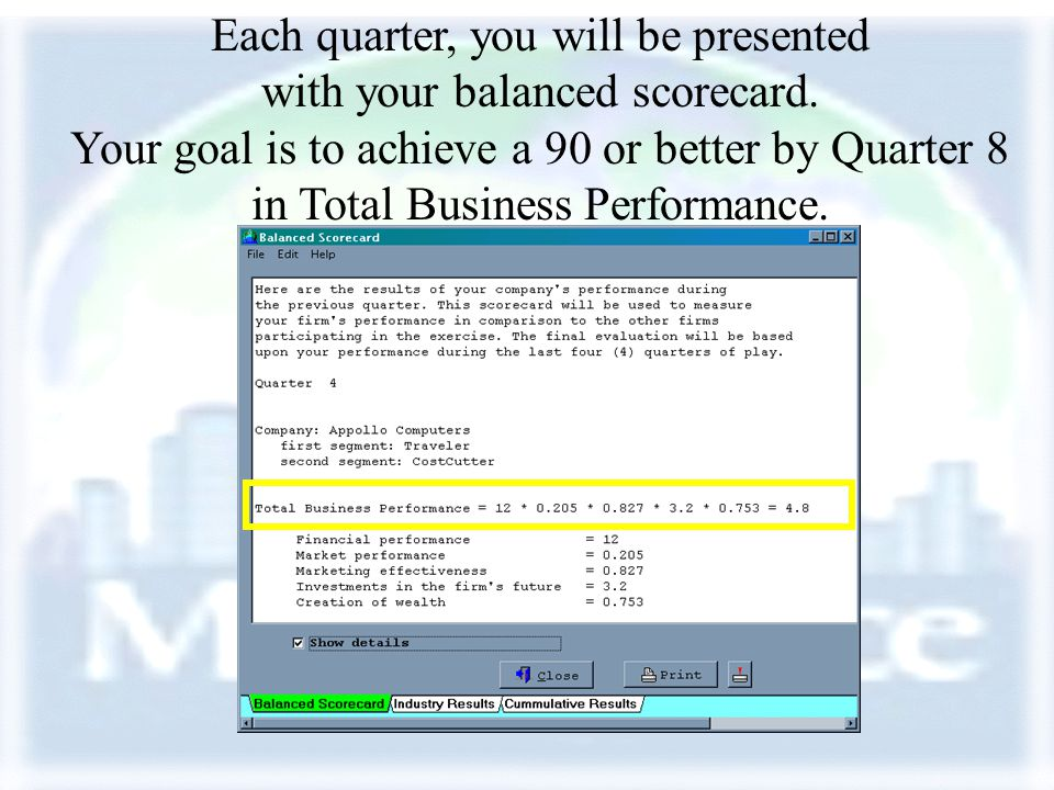 Each quarter, you will be presented with your balanced scorecard.