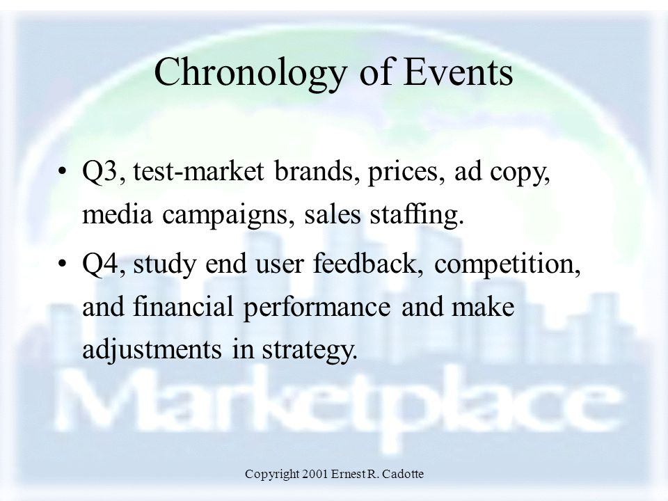 Copyright 2001 Ernest R. Cadotte Chronology of Events Q3, test-market brands, prices, ad copy, media campaigns, sales staffing. Q4, study end user fee