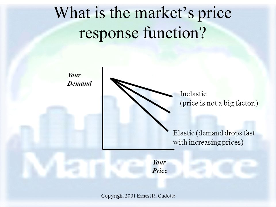 Copyright 2001 Ernest R. Cadotte What is the market's price response function.