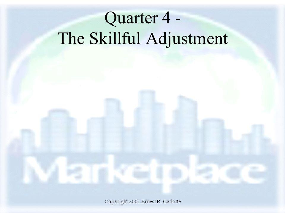 Copyright 2001 Ernest R. Cadotte Quarter 4 - The Skillful Adjustment