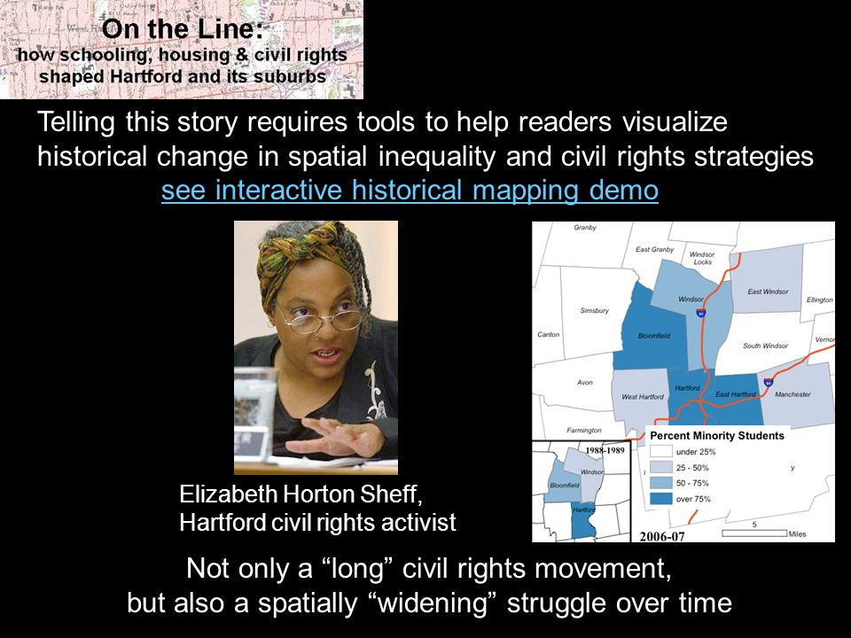 Telling this story requires tools to help readers visualize historical change in spatial inequality and civil rights strategies see interactive historical mapping demo Elizabeth Horton Sheff, Hartford civil rights activist Not only a long civil rights movement, but also a spatially widening struggle over time