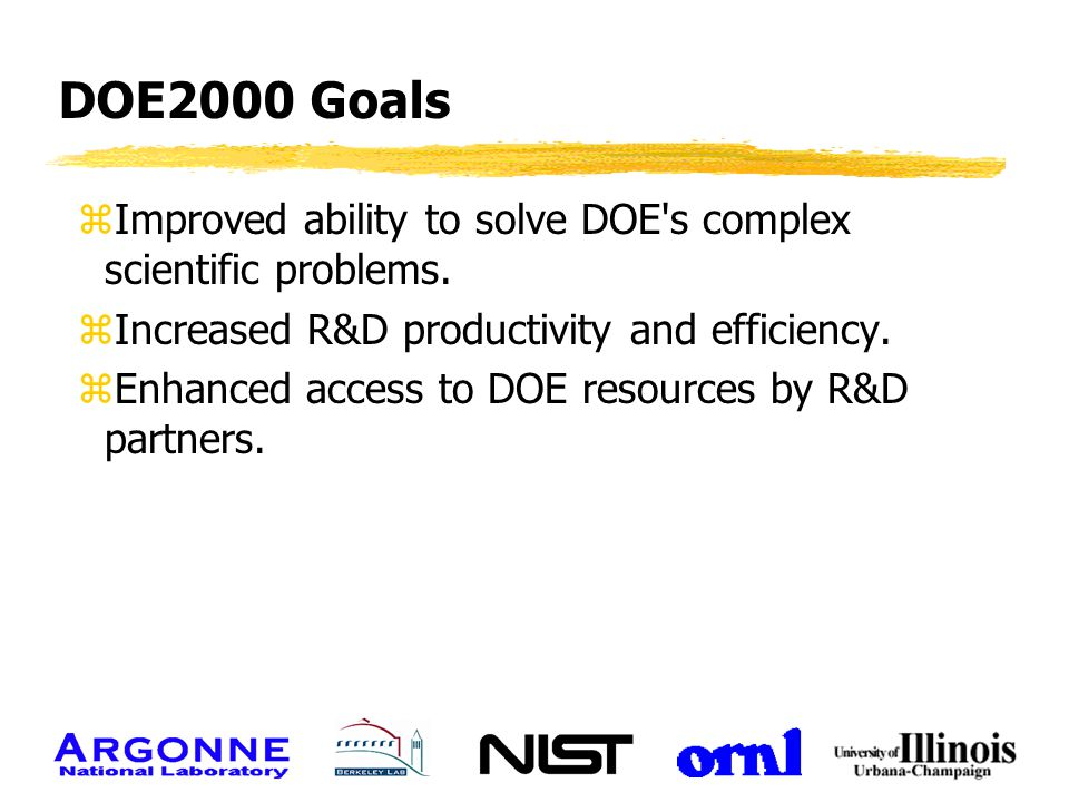 DOE2000 Goals zImproved ability to solve DOE's complex scientific problems. zIncreased R&D productivity and efficiency. zEnhanced access to DOE resour