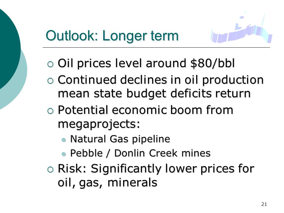 21 Outlook: Longer term  Oil prices level around $80/bbl  Continued declines in oil production mean state budget deficits return  Potential economic boom from megaprojects: Natural Gas pipeline Natural Gas pipeline Pebble / Donlin Creek mines Pebble / Donlin Creek mines  Risk: Significantly lower prices for oil, gas, minerals