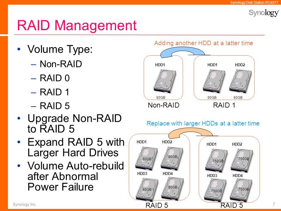 Synology Disk Station RS4077 Synology Inc.7 RAID Management Volume Type: –Non-RAID –RAID 0 –RAID 1 –RAID 5 Upgrade Non-RAID to RAID 5 Expand RAID 5 wi
