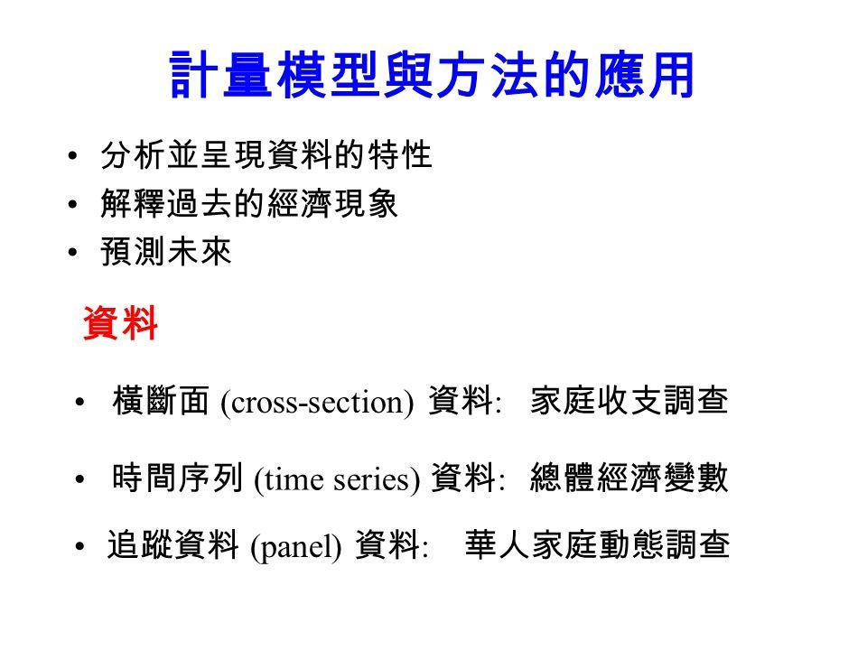 計量模型與方法的應用 分析並呈現資料的特性 解釋過去的經濟現象 預測未來 追蹤資料 (panel) 資料 : 資料 家庭收支調查 橫斷面 (cross-section) 資料 : 時間序列 (time series) 資料 : 總體經濟變數 華人家庭動態調查