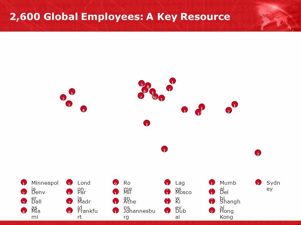 2,600 Global Employees: A Key Resource 1212 1 2 4 6 7 8 1212 1616 1717 9 2020 1919 2121 5 1 2 3 4 5 6 7 8 9 1010 1 1212 1515 1313 1919 Minneapol is De