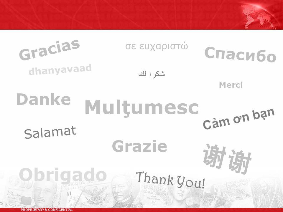 Gracias PROPRIETARY & CONFIDENTIAL Спасибо Grazie Danke Merci 谢谢 σε ευχαριστώ شكرا لك Salamat Obrigado dhanyavaad Thank You! Cảm ơn bạn Mulţumesc