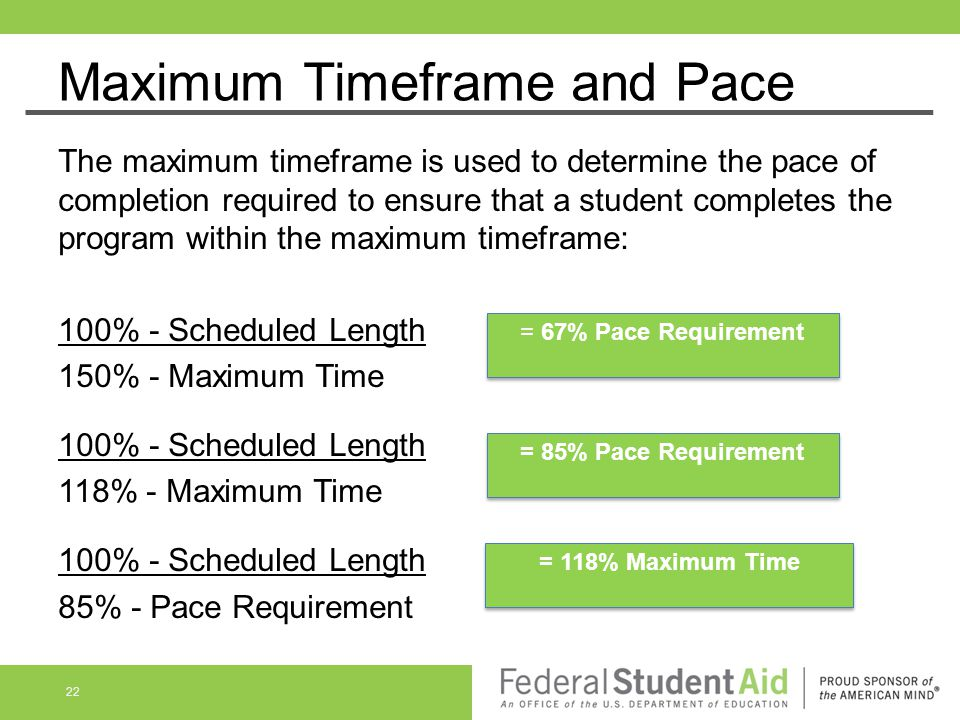 Maximum Timeframe and Pace The maximum timeframe is used to determine the pace of completion required to ensure that a student completes the program w