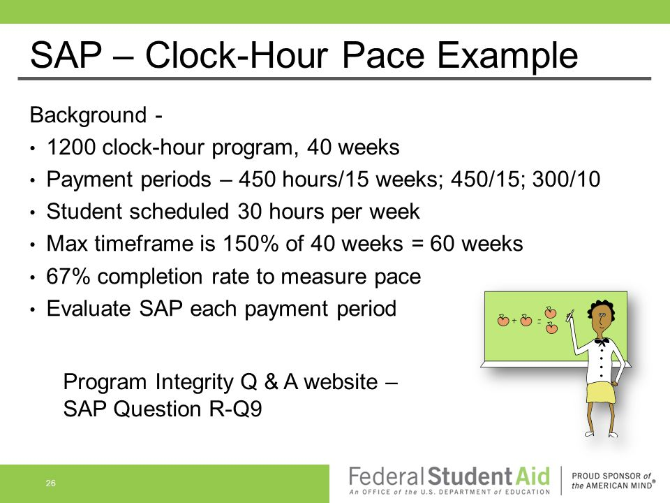 Background - 1200 clock-hour program, 40 weeks Payment periods – 450 hours/15 weeks; 450/15; 300/10 Student scheduled 30 hours per week Max timeframe