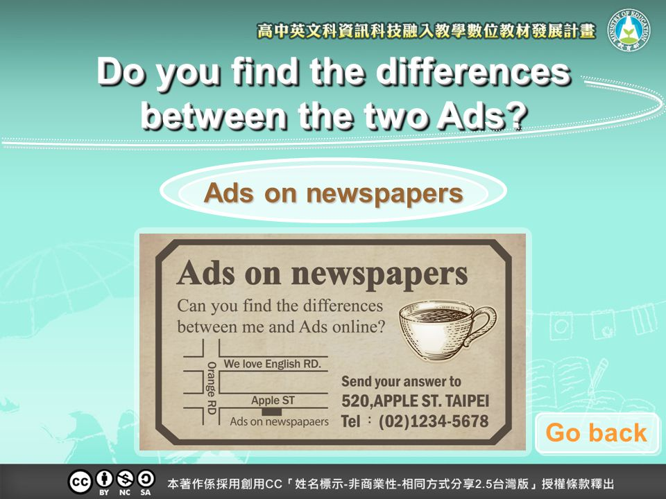 Ads on newspapers Ads on newspapers Do you find the differences between the two Ads Go back