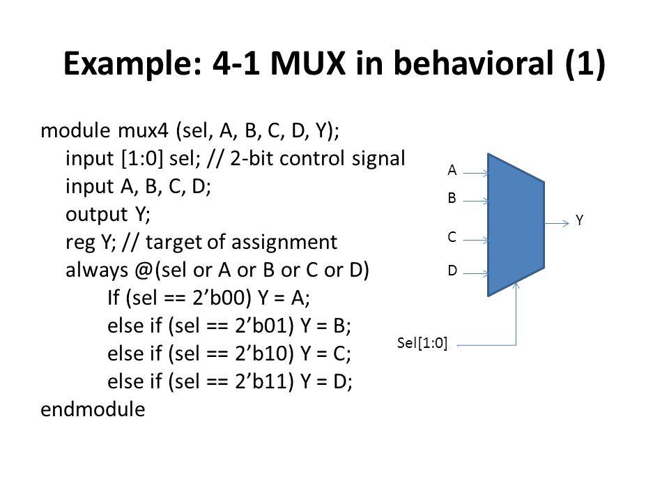 Example: 4-1 MUX in behavioral (1) module mux4 (sel, A, B, C, D, Y); input [1:0] sel; // 2-bit control signal input A, B, C, D; output Y; reg Y; // ta